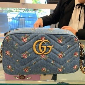 Gucci Denim Floral Marmont crossbody